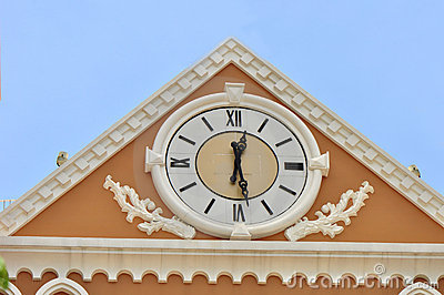 Clock on building wall
