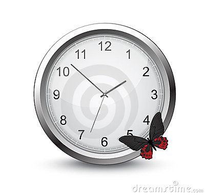 Clock with butterfly