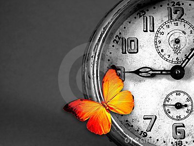 Clock and butterfly Stock Photo