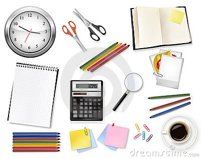 A clock, calculator and some office supplies.