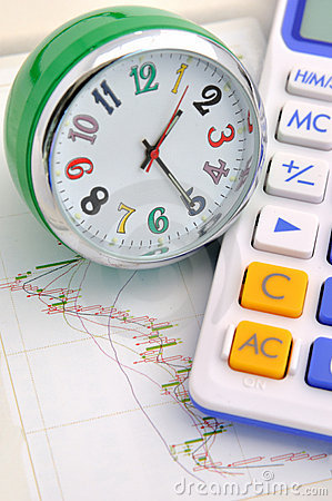 Clock and calculator on stock graph