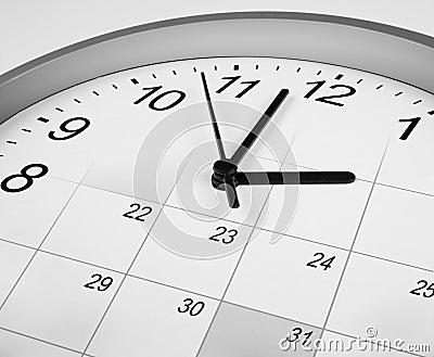 Clock and calendar. time management concept.