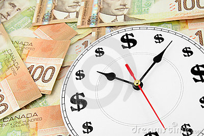 Clock and canadian dollars