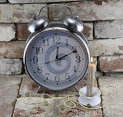 Clock with candle