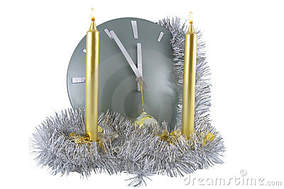 Clock  with christmas  decoration over white