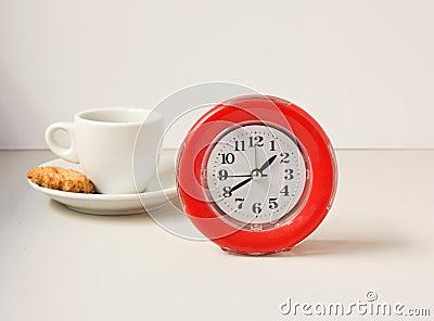 Clock and coffee.