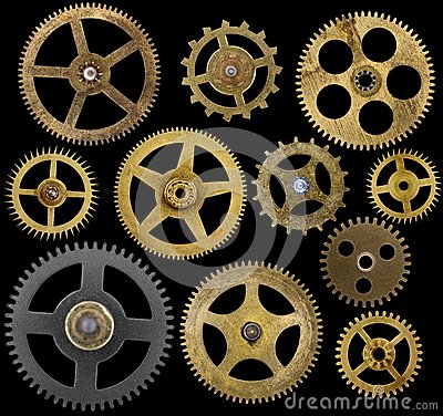 Free Clock Cogs Isolated On Black Royalty Free Stock Photography - 44592737