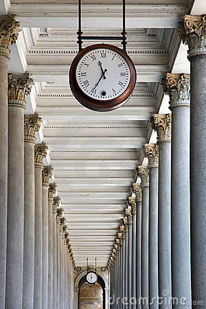 Clock and colonnade in Karlovy Vary