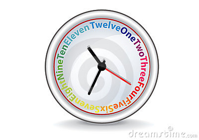 Clock with colorful words
