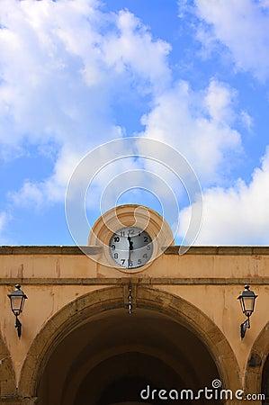 Clock in cornice