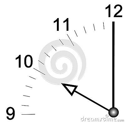 Clock face set at ten o clock