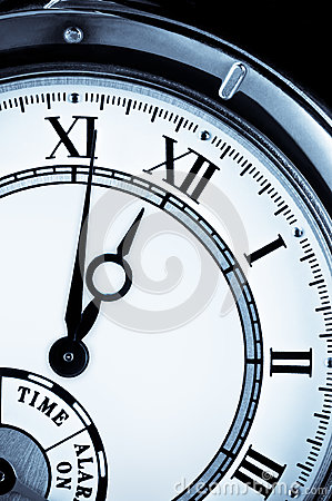 Clock face, watch closeup