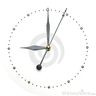 Clock face on white background - time concept
