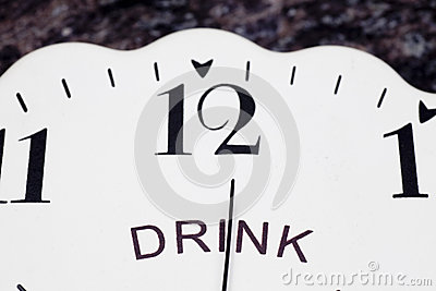 Clock face with word drink