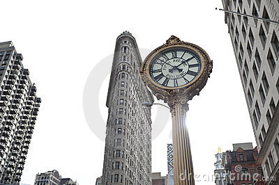 Clock by flat iron Building Editorial Image