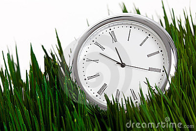 Clock and green grass