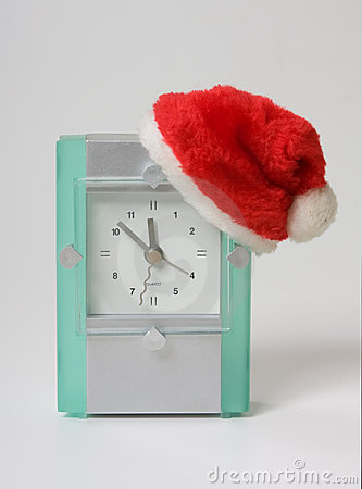 Clock in the hat of Santa