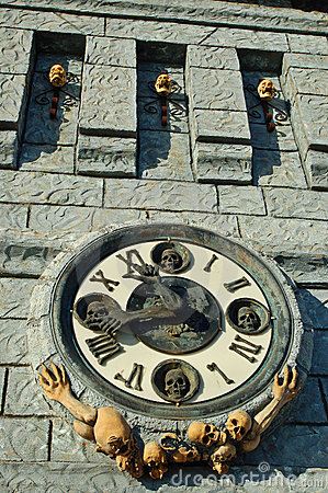 Clock on a haunted castle