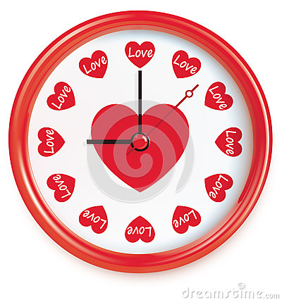 Clock with hearts. Vector