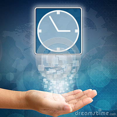 Clock icon on business hand