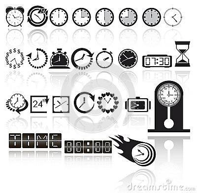 Free Clock Icon Set Stock Photo - 28521960
