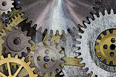 Clock mechism gears and cogs