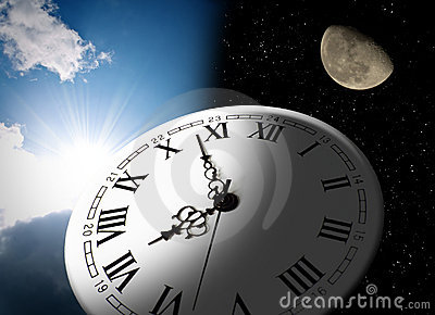 Clock, moon and sun