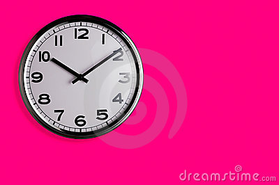 Clock on pink