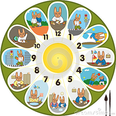 Clock Rabbit Schoolchild