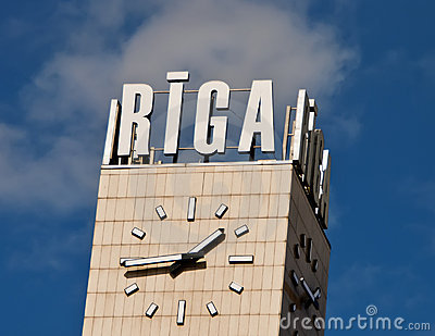Clock of railstation in Riga city