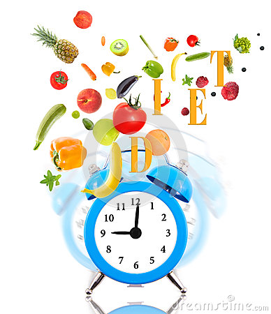 Clock ringing, fruits and vegetables.