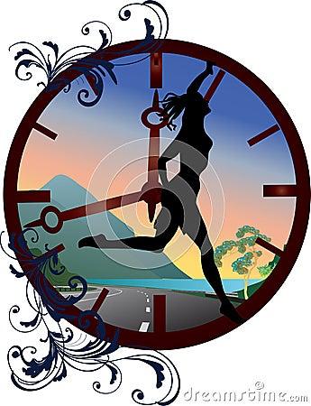 Clock and running girl illustration