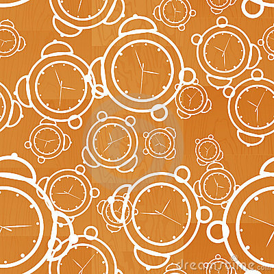 Clock seamless wooden background