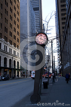 Clock Seattle street Editorial Photography