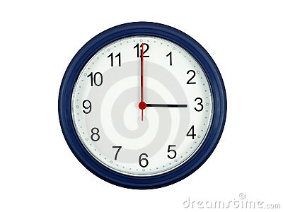 Clock showing 3 o clock