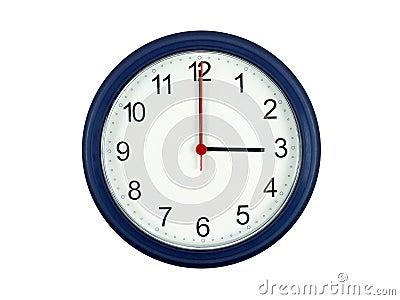 Clock showing 3 o clock