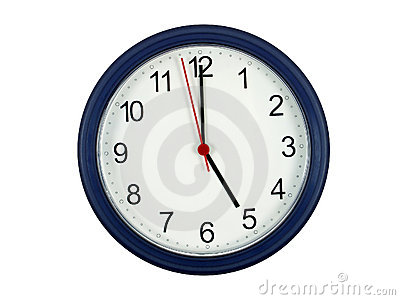 Clock showing 5 o clock