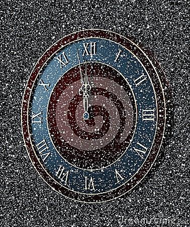 Clock in snowfall at midnight