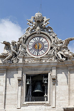 The clock of St Peters Basilica, the Vatican