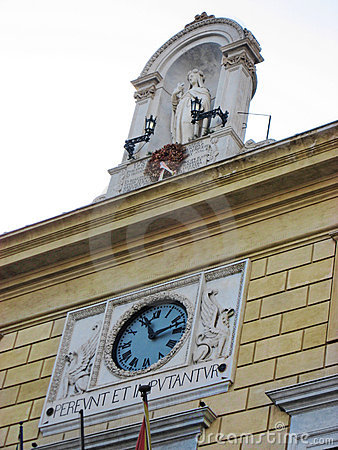 Clock and Statue Facade Sicily Italy