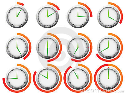 Clock timer with 5 minutes intervals marked with line in color.