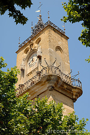 Clock tower in Aix-en-Provence, France