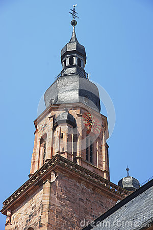 Free Clock Tower And Spire Of Cathedral Of Holy Spirit In Heidelberg Royalty Free Stock Photo - 52025085