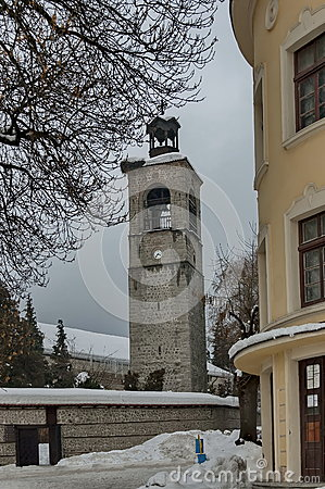 Free Clock Tower At Church In Bansko Town Stock Image - 63354901