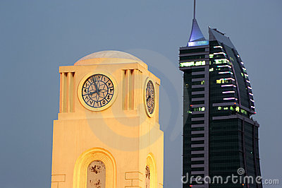 Clock Tower and Bahrain Financial Harbour