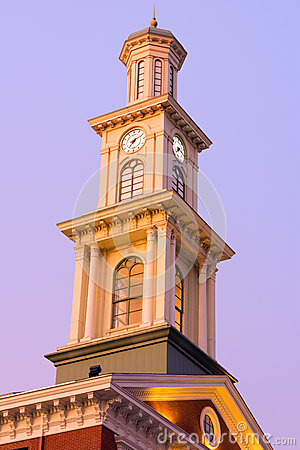Clock tower in Baltimore downtown in the early winter morning.