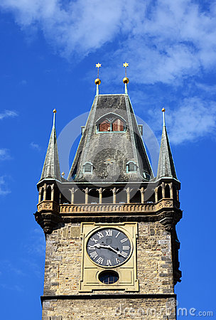 Clock tower, blue sky, old Prague