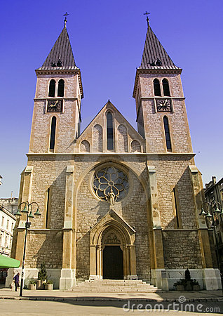 Free Clock Tower Catholic Church Sarajevo Stock Images - 13391874