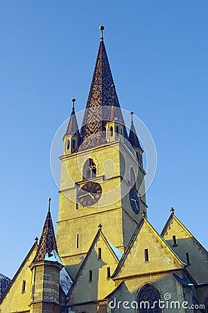 Clock tower gothic luteran church Sibiu in winter