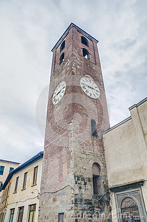 Clock tower in Lucca, Tuscany province, Italy